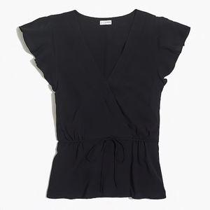 J Crew black flutter-sleeve faux-wrap blouse